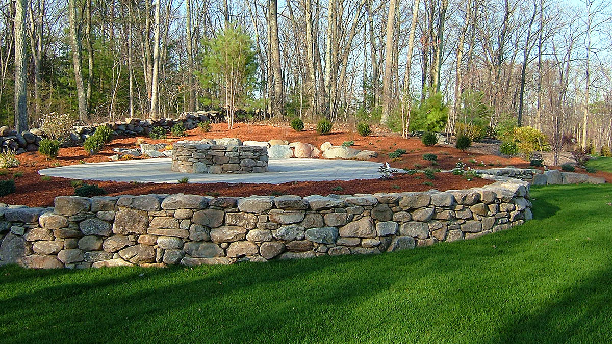 Dry Laid, New England Fieldstone, Retaining Wall, 1st Year Planting