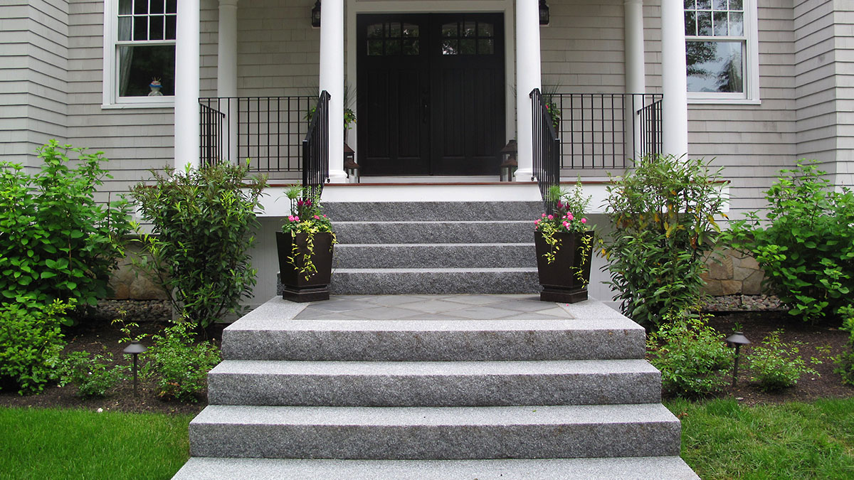 Granite Steps with Bluestone Inlay