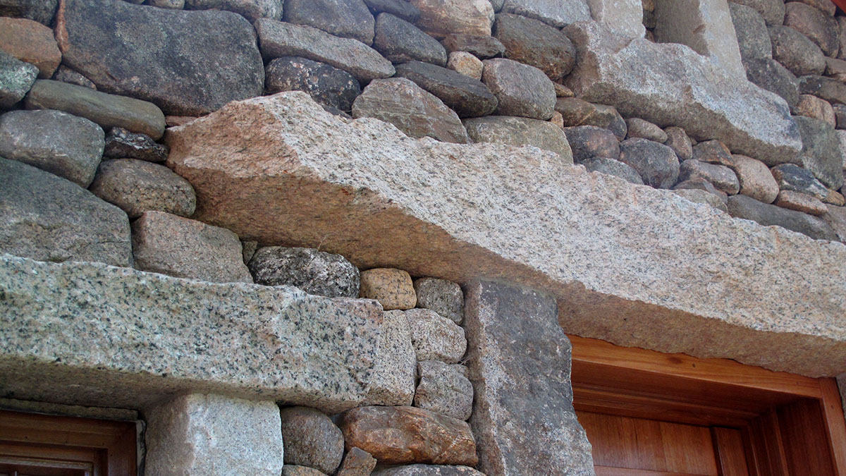 Close Up of Salvaged Granite Lintels