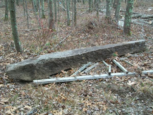 8' Long Granite Found Buried Near Stone Wall